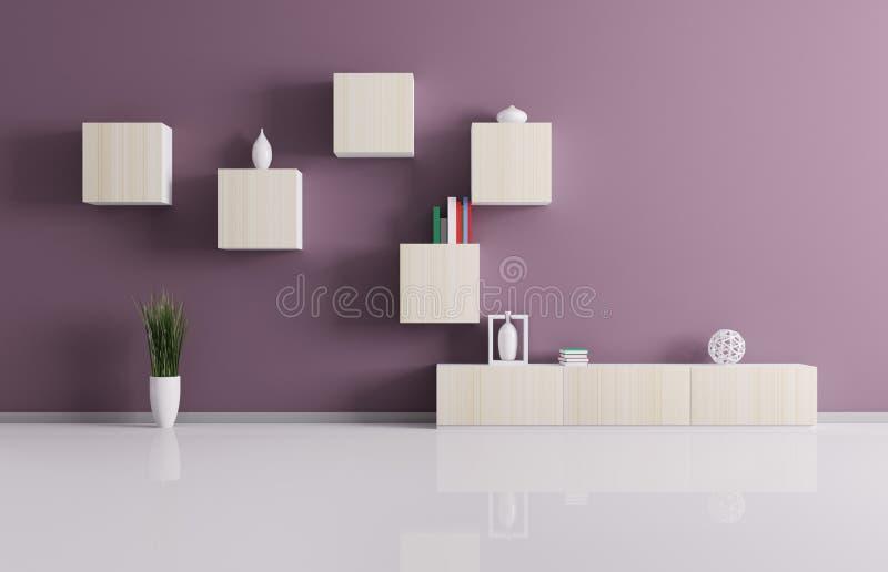 Żywy pokój z półkami 3d odpłaca się ilustracja wektor