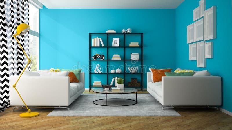 Wnętrze żywy pokój z szklanym półki 3D renderingiem ilustracji
