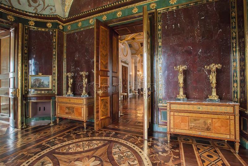 Wnętrze agatów pokoje w budynku zimna skąpaniu w Tsarskoye Selo fotografia stock
