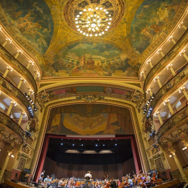Wnętrze amazonki Theatre w Manaus, Brazylia zdjęcie royalty free