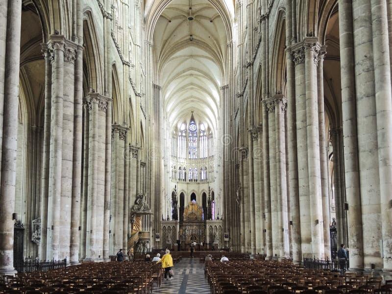 Wnętrze Amiens katedra, Francja zdjęcia stock