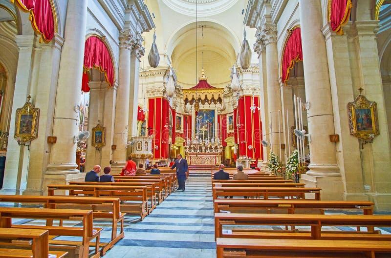 Wnętrze Annunciation kościół, Birgu, Malta obrazy stock