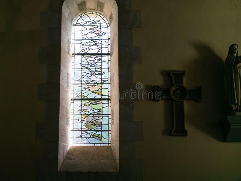 Wnętrze antyczny carolingian krasomówstwo kościół fotografia stock