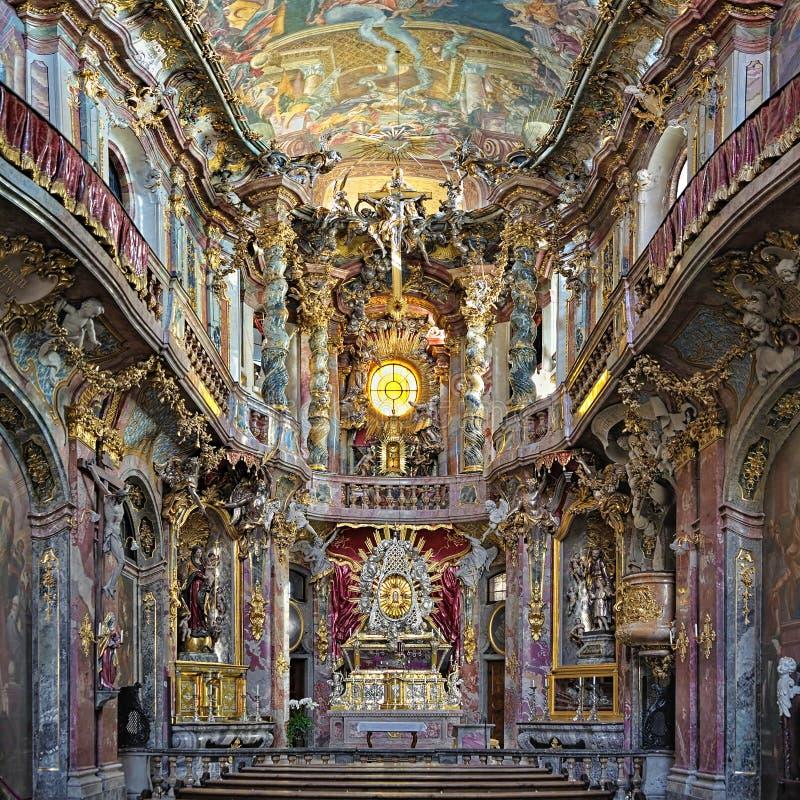 Wnętrze Asamkirche w Monachium, Niemcy zdjęcie royalty free