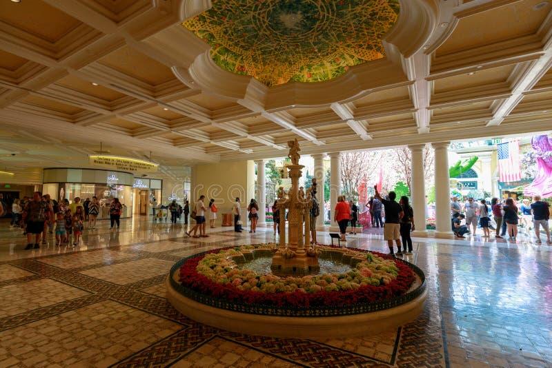 Wnętrze Bellagio, kurort, luksusowy hotel i kasyno na Las Vegas, Obdzieramy zdjęcie royalty free