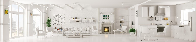 Wnętrze biały żywy izbowy panoramy 3d rendering ilustracja wektor