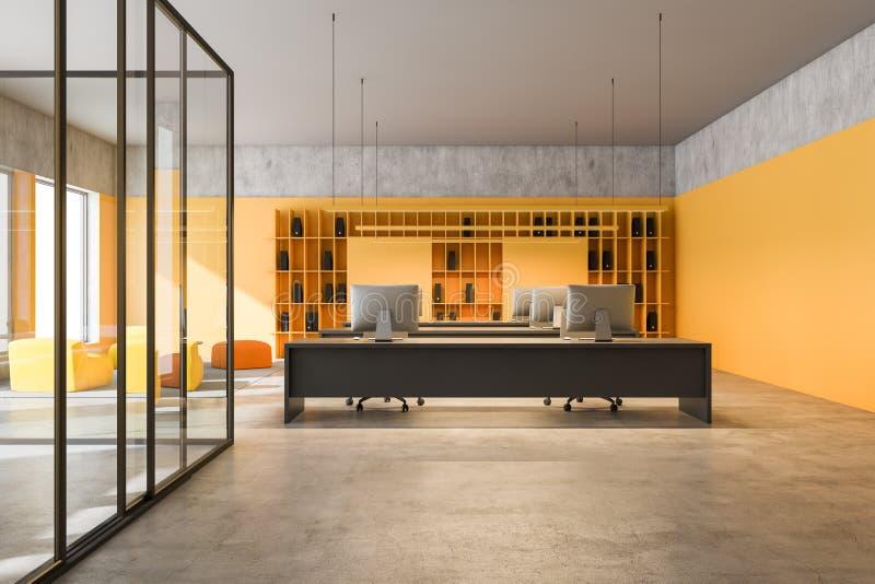 Wnętrze biura firmy konsultacyjnej w kolorze żółtym royalty ilustracja