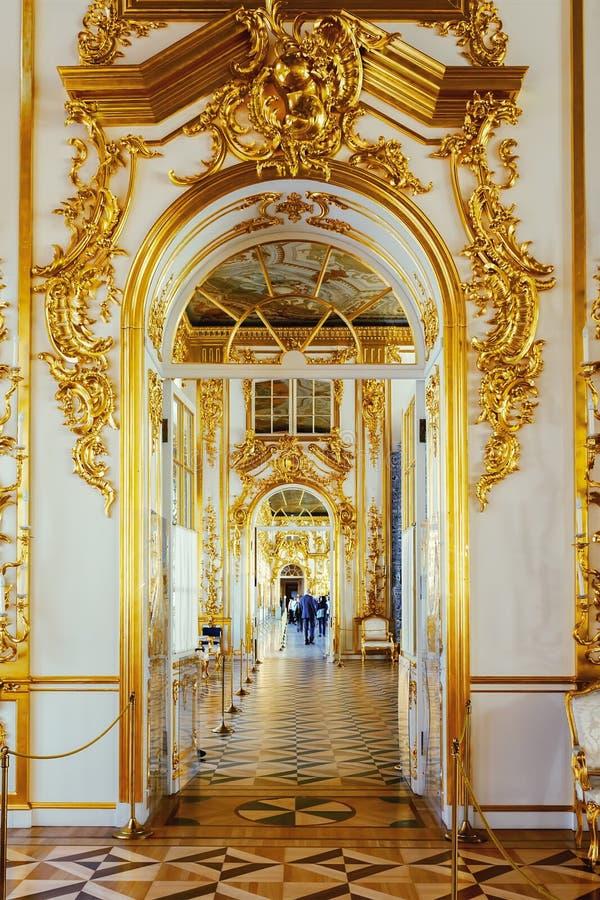 Wnętrze Catherine pałac w Tsarskoye Selo, święty Peters obrazy royalty free