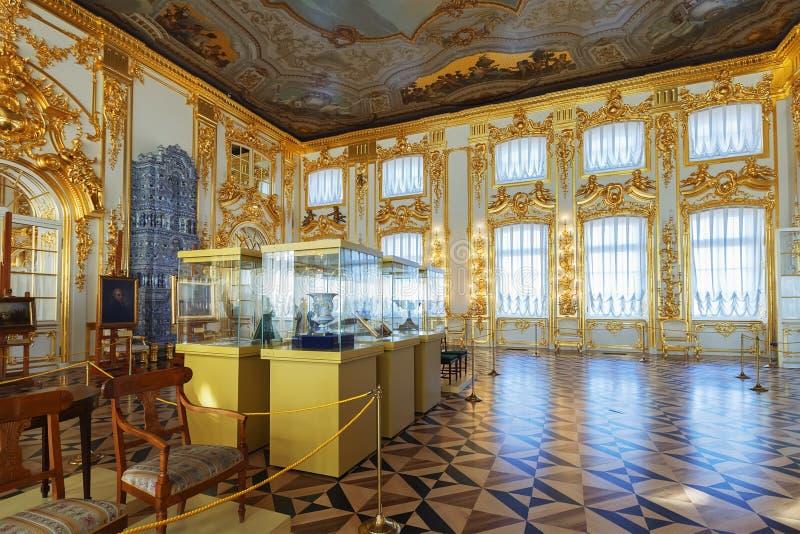 Wnętrze Catherine pałac w Tsarskoye Selo blisko St, zdjęcia stock