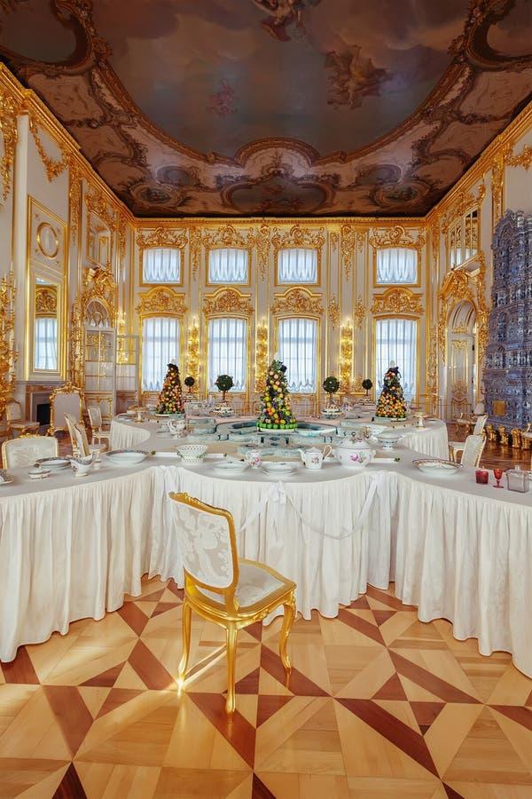 Wnętrze Catherine pałac w Tsarskoye Selo blisko St zwierzęcia domowego, obrazy stock