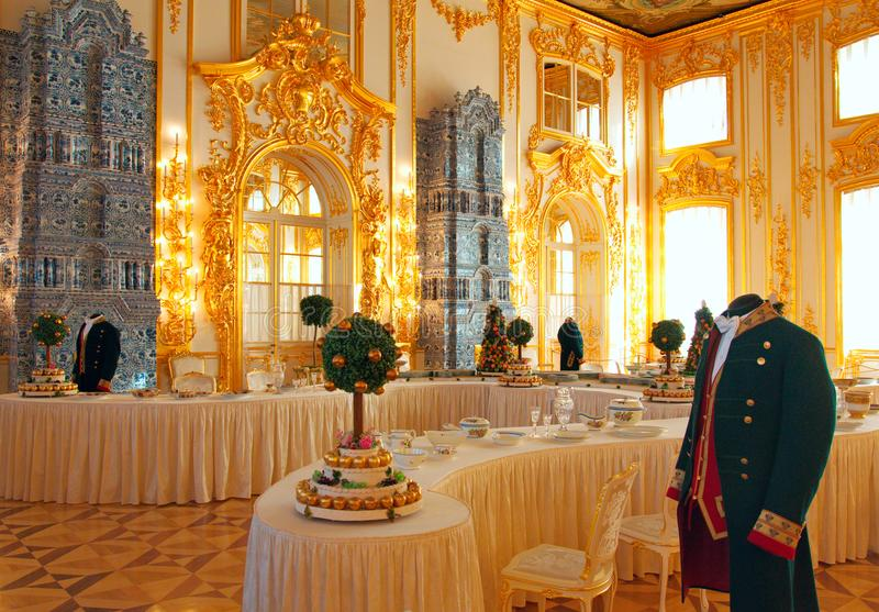 Wnętrze Catherine pałac w Tsarskoye Selo Pushkin obraz royalty free