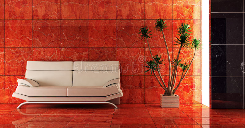 wnętrze czerwone kanapy ilustracji