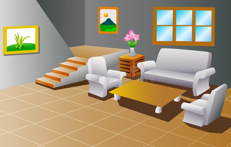 Wnętrze domowy żywy pokój ilustracji