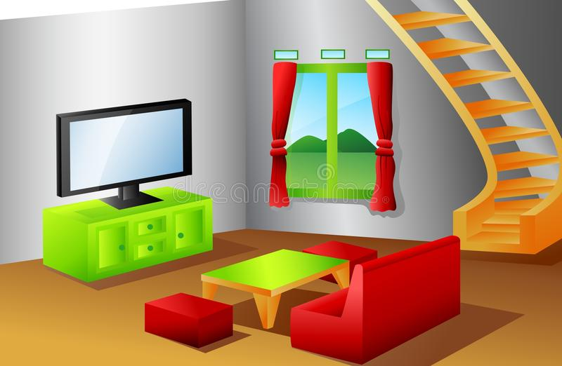 Wnętrze domowy żywy pokój ilustracja wektor