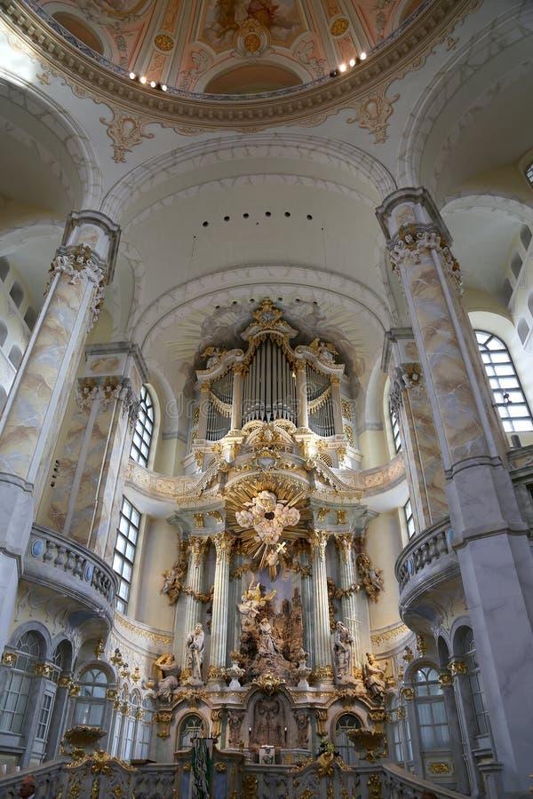 Wnętrze Drezdeński Frauenkirche Nasz dama jest Luterańskim kościół w Drezdeńskim (dosłownie kościół) fotografia stock