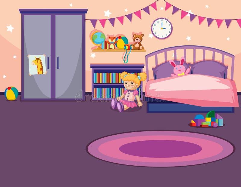 Wnętrze dziewczyny sypialnia royalty ilustracja