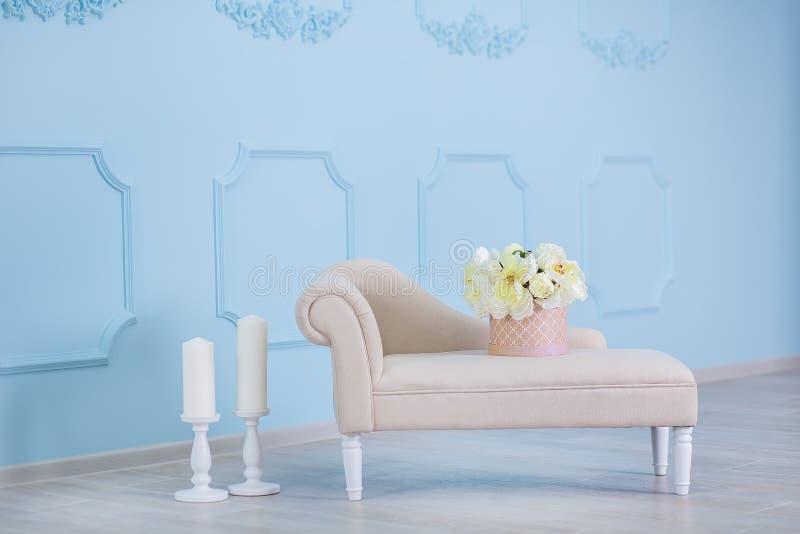 Wnętrze egzamin próbny w górę fotografii Błękit ściana z rzemienną materialną otomany kanapą, garnkiem z rośliny drabiną i kwiata obraz stock
