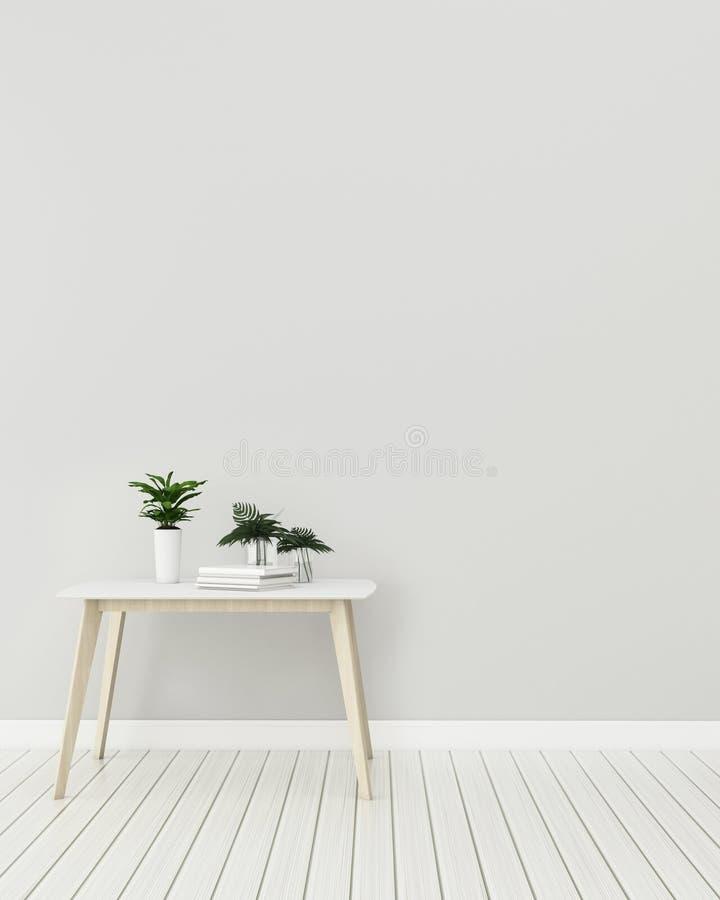 Wnętrze egzamin próbny z w górę drewnianego stołu w żywym pokoju wn?trze nowoczesne projektu zdjęcia stock