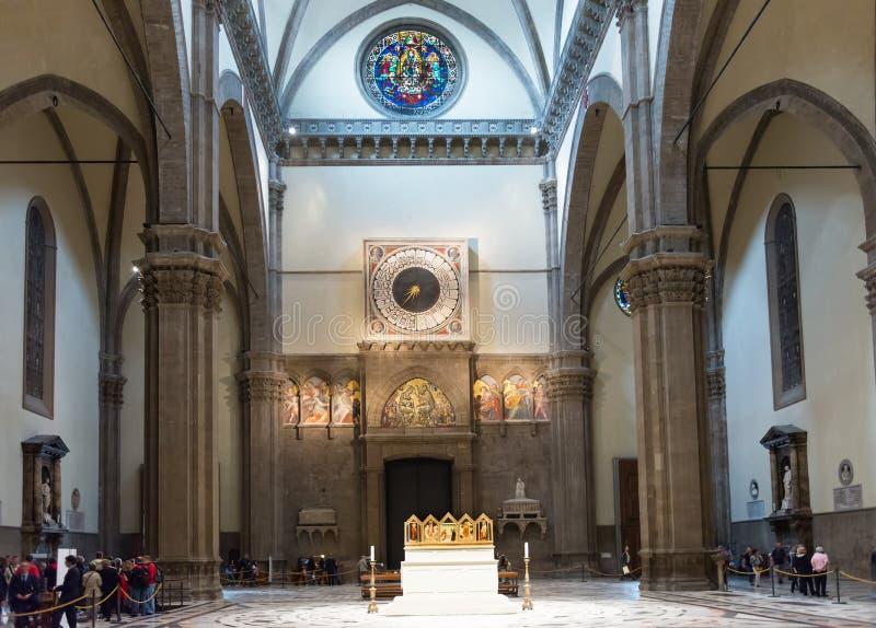 Wnętrze Florencja bazyliki Di Santa Maria Katedralny del Fiore, dzwonnica Giotto (Duomo) obraz stock