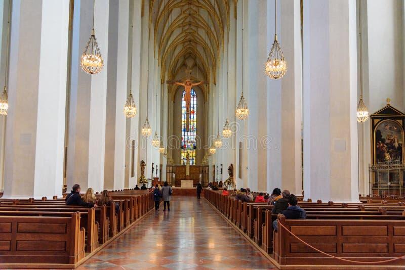 Wn?trze Frauenkirche lub katedra Nasz Kochana dama w Monachium Niemcy obraz stock