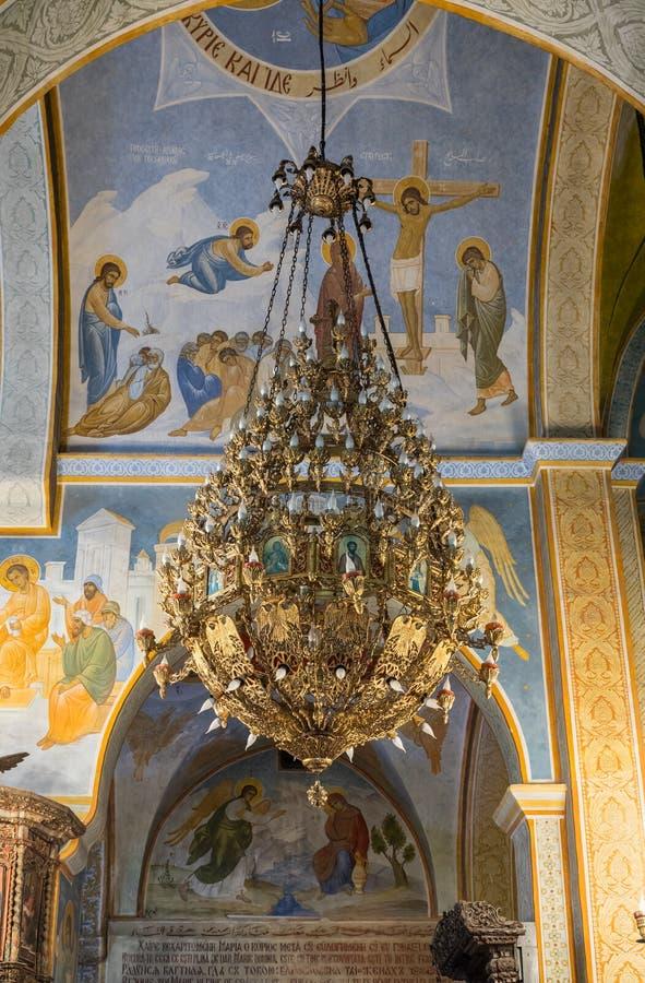 Wnętrze Greckokatolicki kościół Annunciation w Nazareth mieście w Izrael zdjęcie royalty free