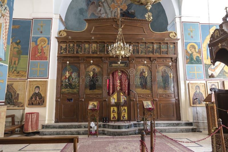 Wnętrze Greckokatolicki kościół St George Madaba, obrazy royalty free