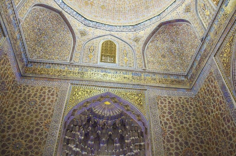 Wnętrze Gur emira mauzoleum Azjatycki pogromca Tamerlane zdjęcie stock