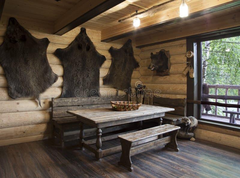 Wnętrze hunter& x27; s dom obraz stock