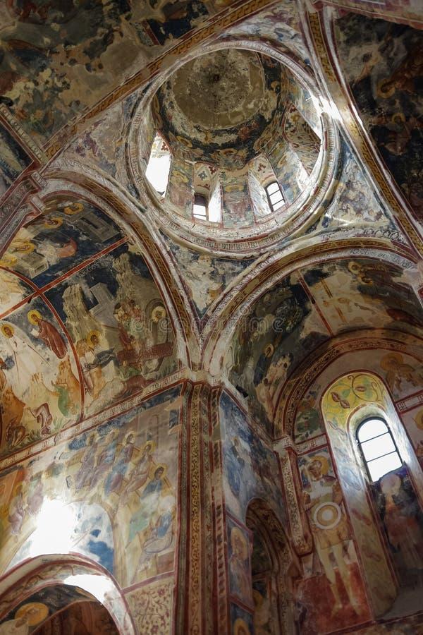 Wnętrze i frescoes kościół w Gelati monaster dziewica Kutaisi, Gruzja fotografia royalty free
