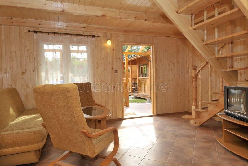 wnętrze kasetonowy drewna domowego obraz royalty free
