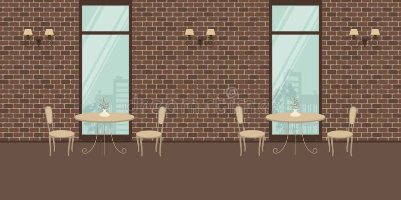 Wnętrze kawiarnia z beżowym meble na ściana z cegieł tle ilustracja wektor