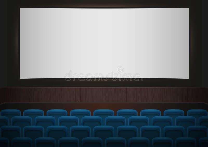 Wnętrze kinowy kino Błękitni kina lub teatru siedzenia przed białym pustym ekranem audytorium kino pusty ilustracji