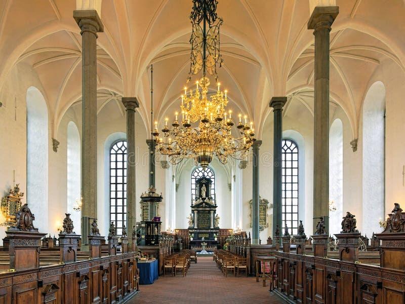 Wnętrze kościół Święta trójca w Kristianstad, Szwecja obrazy stock