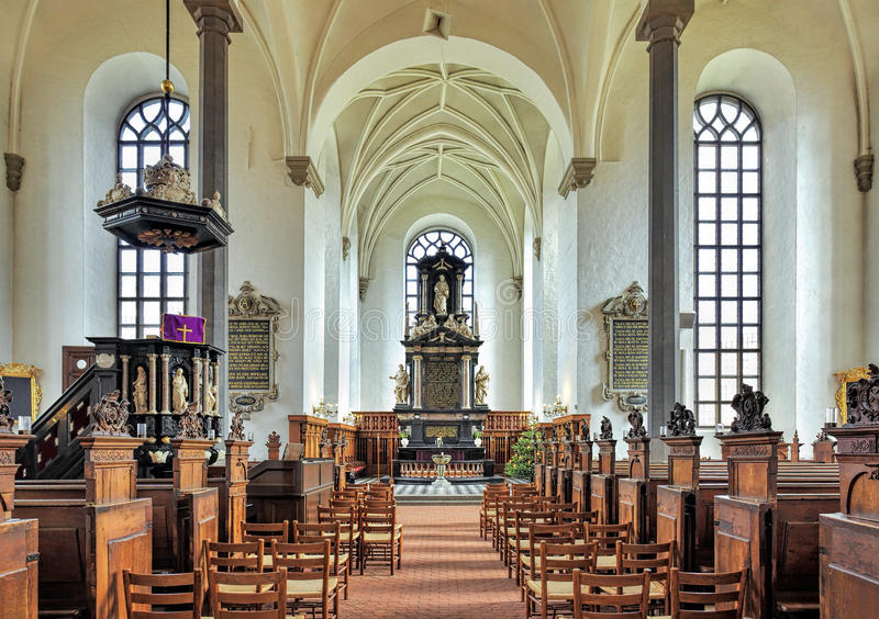 Wnętrze kościół Święta trójca w Kristianstad, Szwecja fotografia royalty free