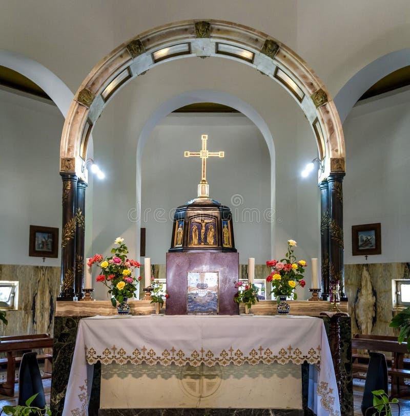 Wnętrze kościół góra błogosławieństwa w Izrael obraz stock