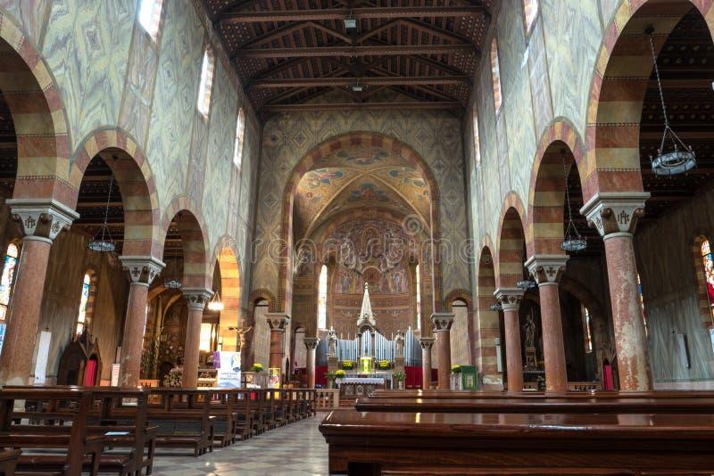 Wnętrze kościół - San Mauro Noventa Di Piave, Włochy obraz stock