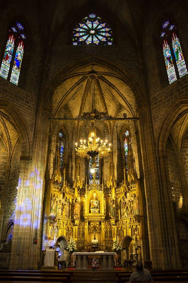 Wnętrze kościół San Saturnino lub San Cernin w Pamplona, Navarre, Hiszpania fotografia royalty free