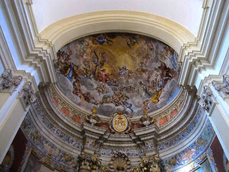 Wnętrze kościół St Steven w Starym miasteczku Dubrovnik fotografia stock