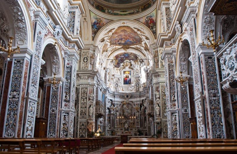 Wnętrze kościelny losu angeles chiesa Del Gesu lub Casa Professa w Palerm zdjęcia stock