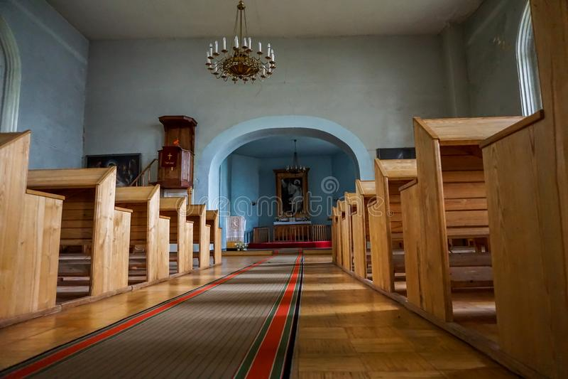 Wnętrze Koknese Ewangelicki Luterański kościół fotografia royalty free