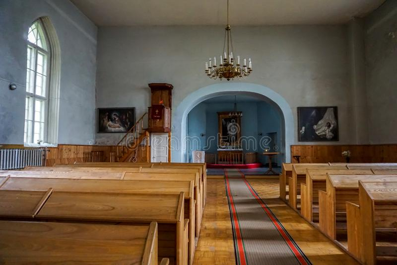 Wnętrze Koknese Ewangelicki Luterański kościół obrazy stock
