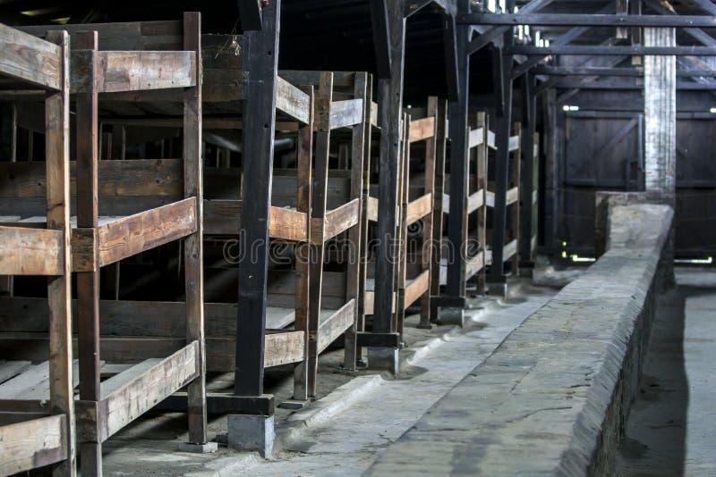 Wnętrze koszary przy auschwitz Koncentracyjnym obozem w Polska zdjęcia royalty free