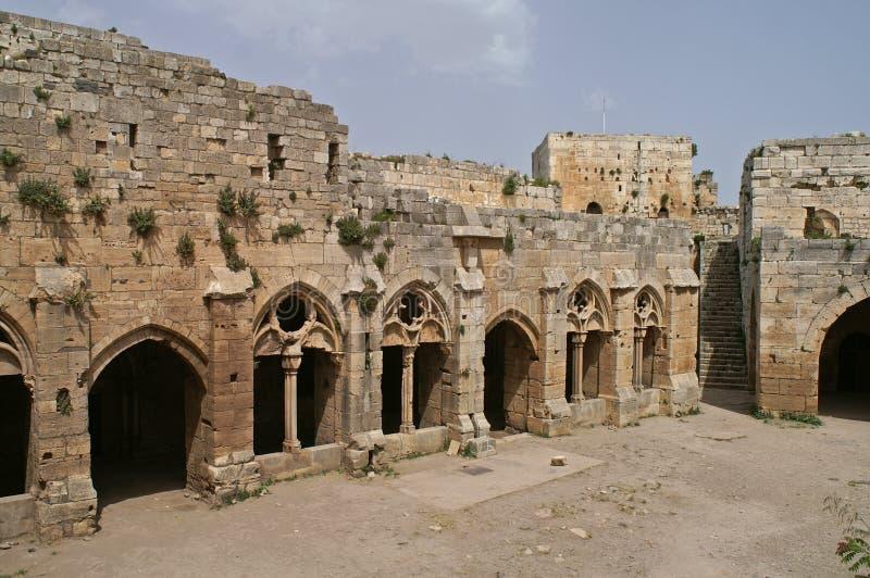 Wnętrze krzyżowowie roszuje Krak des Chevaliers w Syrii obraz royalty free