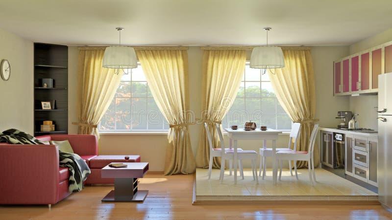 Wnętrze kuchenny pokój dzienny obraz royalty free