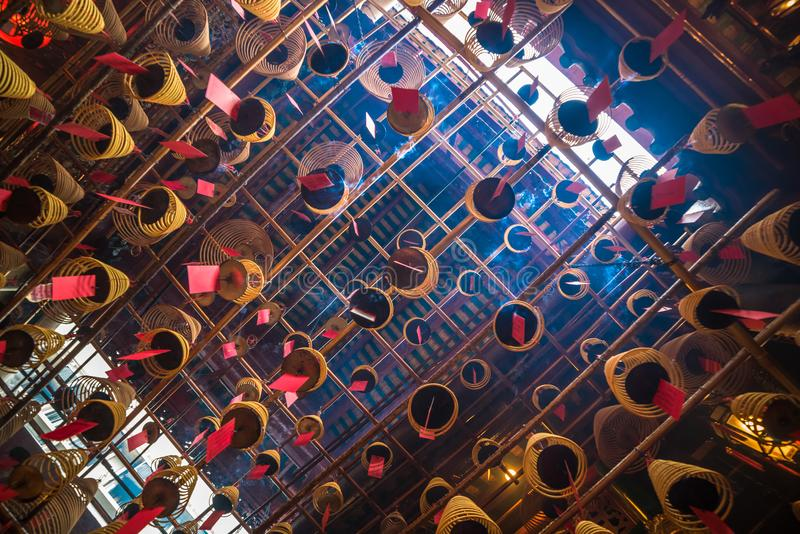 Wnętrze mężczyzna Mo świątynia w Hong Kong obrazy royalty free