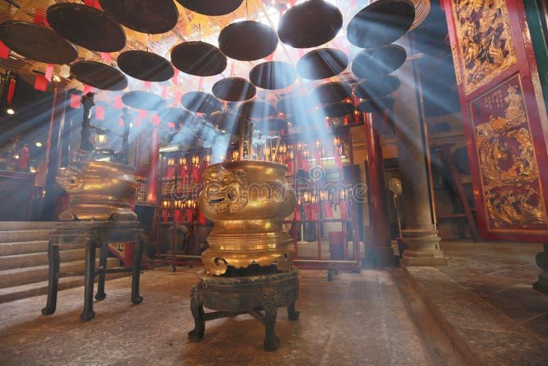 Wnętrze mężczyzna Mo świątynia w Hong Kong fotografia royalty free