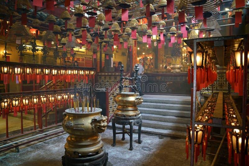 Wnętrze mężczyzny Mo świątynia przy Sheong Bladym, Hong Kong wyspa obraz stock