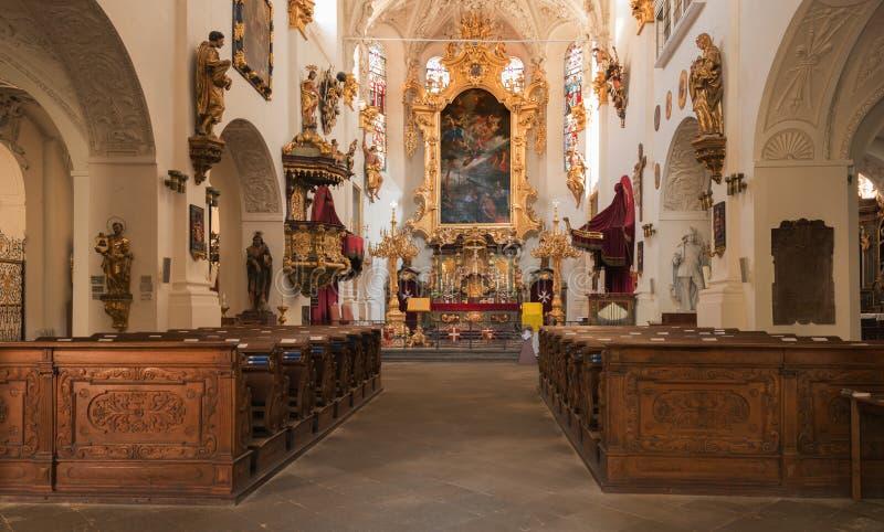 Wnętrze Maltański kościół w Praga zdjęcia royalty free