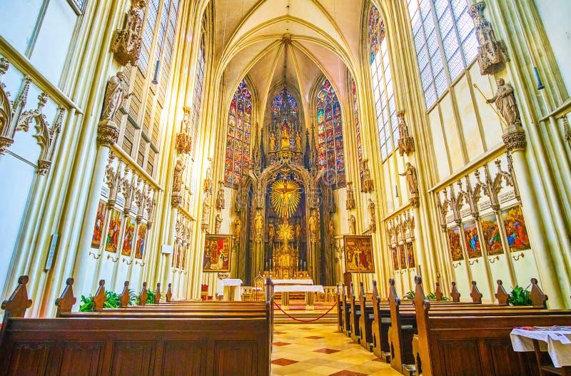 Wnętrze Mariam jest Gestade kościół, Wiedeń, Austria obraz royalty free