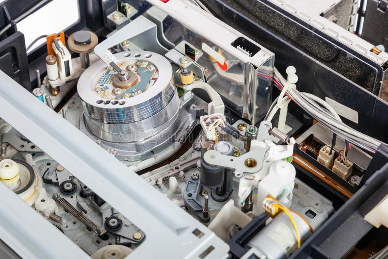 Wnętrze mechanicy stary i przestarzały VCR zdjęcie royalty free